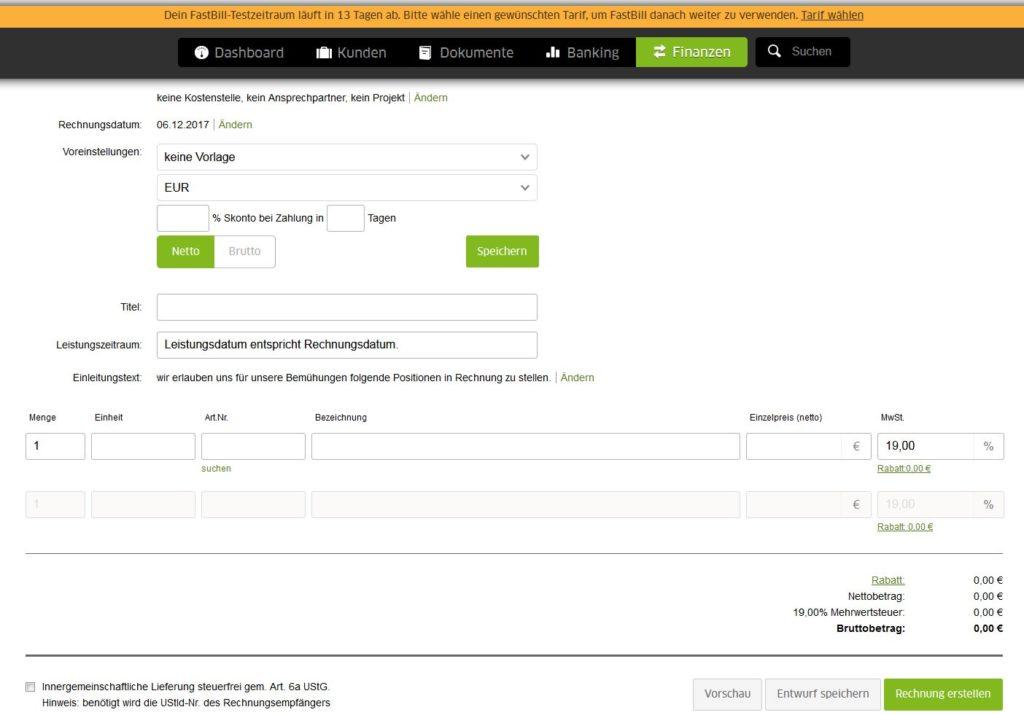 Screenshot der Rechnung Erstellen Funktion von Fastbill
