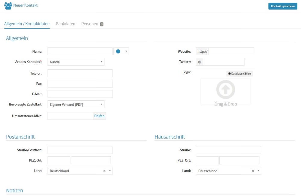 Screenhot der Kontakte Anlegen Funktion von Papierkram